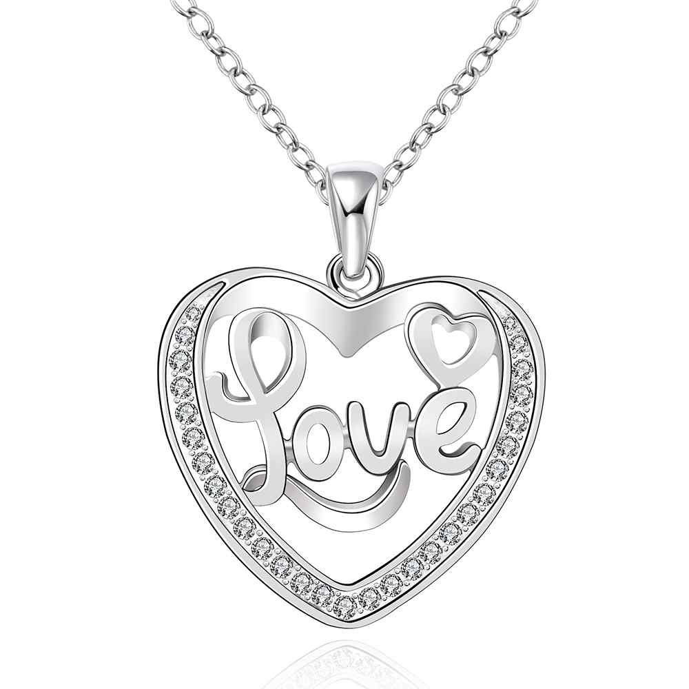 wholesale 2014 New Fashion silver plated Chain love word in heart Necklaces Pendants For Women Men jewelry SMTN634