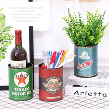 Retro Creative Multifunctional Besi Pusingan Pen Pemegang Desktop Bunga Pot Penyimpanan Bucket Metal Home Decoration