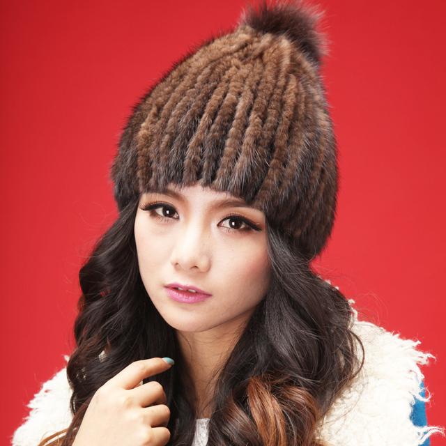 2015 otoño invierno de señora women caliente de cuero real de piel de piña bola de moda encantadora genuina de visón de piel 4 color cap