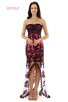 Real Photo Dressgirl 2016 Prom Dresses Mermaid Short Front Long Back Fuchsia Black Lace Prom Gown