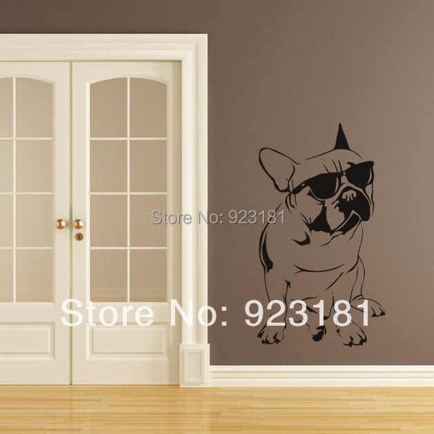 Free shipping Hot French Bulldog Sunglasses Dogs Wall Stickers Decal DIY Home Decoration Wall Mural Removable Bedroom Sticker