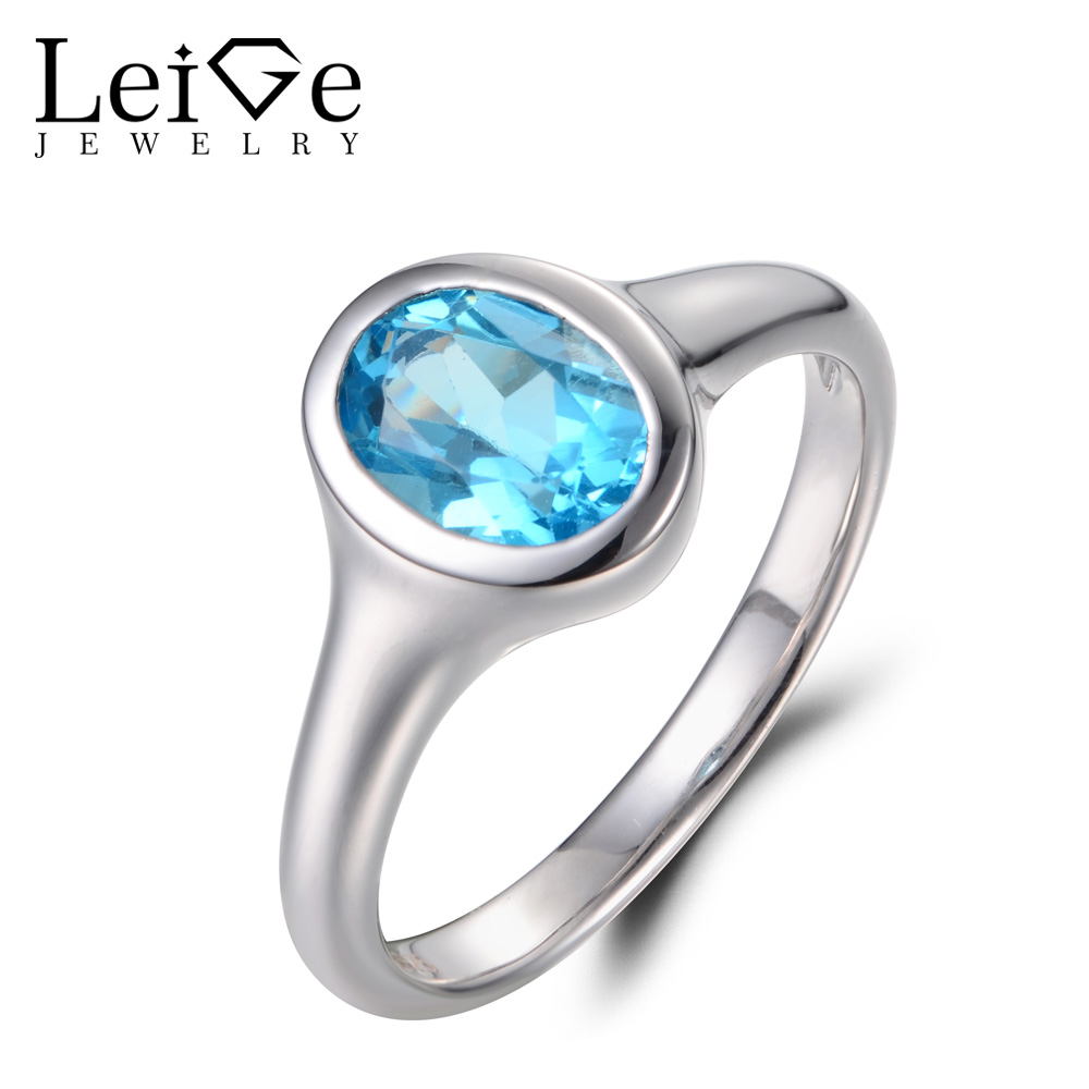 Leige Jewelry Oval Cut Swiss Blue Topaz Ring Cocktail Party Ring November Birthstone 925 Sterling Silver Solitaire Ring for Lady