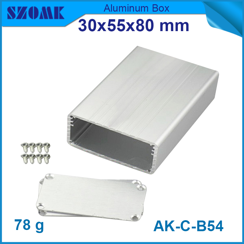 1 piece free shipping silver or Blue color aluminum small hot selling metal enclosures for electronics 30*55*80mm 1 piece free shipping ak c b10 metalic aluminium box szomk electronics case amplifier enclosures