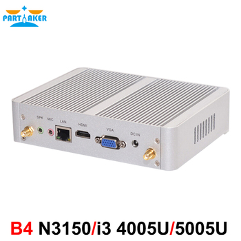 Partaker B4 Intel 14nm Quad Core N3150 Dual Core i3 4005U / 5005U Processor HTPC Mini Pc with HDMI VGA 4K HD