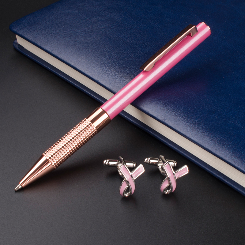 MONTE MOUNT Pink and Rose Gold Clip Ballpoint Pen Business and office suite Cufflinks oracle e business suite