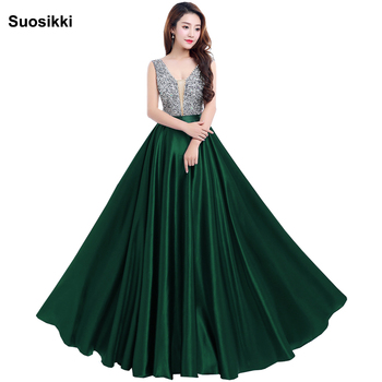 Prom Dresses 2018 Deep V-Neck Backless Beads Crystal Party Gowns Sleeveless floor-length Cheap Tulle Party Dress