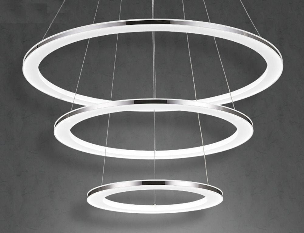 New Modern LED Round Tier Pendant Lamp  Ring Light Lighting plated Chrome circles lights for dining living room acrylic chrome plated modern handle c c 192mm l 218mm h 23mm drawers cabinets