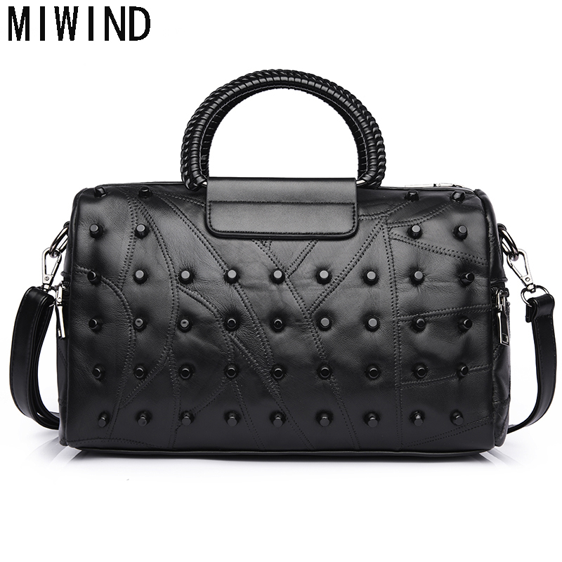 MIWIND 2017 Women Genuine Leather Messenger Bags Sheepskin Handbags Famous Brands Designer Female Crossbody Shoulder Bag TJK1076 women genuine leather bag weave sheepskin handbags women famous brands designer female handbag messenger bags shoulder bag sac