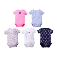 5 Pieces Love Bird Baby Girl Bodysuits Short Sleeved Girls Clothing Triangle Newborn Girl Bodysuits Cotton Striped ROBG041601394
