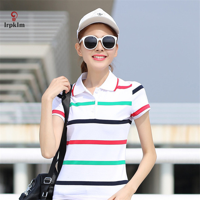 Summer Polo Shirts Femme...