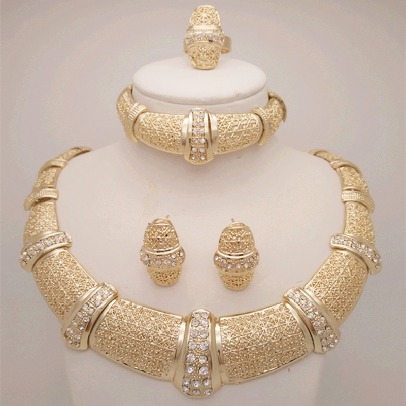 2016 New Free Shipping 18K Nigerian Beads Wedding Jewelry Set Bridal Dubai Gold Plated Jewelry Sets