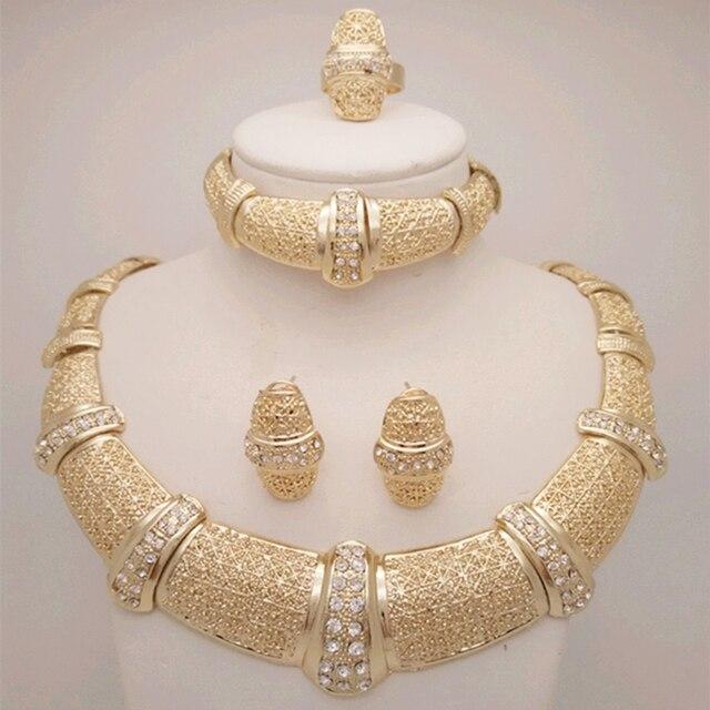 Kingdom Ma Nigerian Beads Wedding Jewelry Set Bridal Dubai Gold Color Sets African Necklace