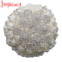 Wifelai a high grade luxury ivory rose silver diamonds stitch bouquet wedding bridal de mariage brooch.jpg 200x200