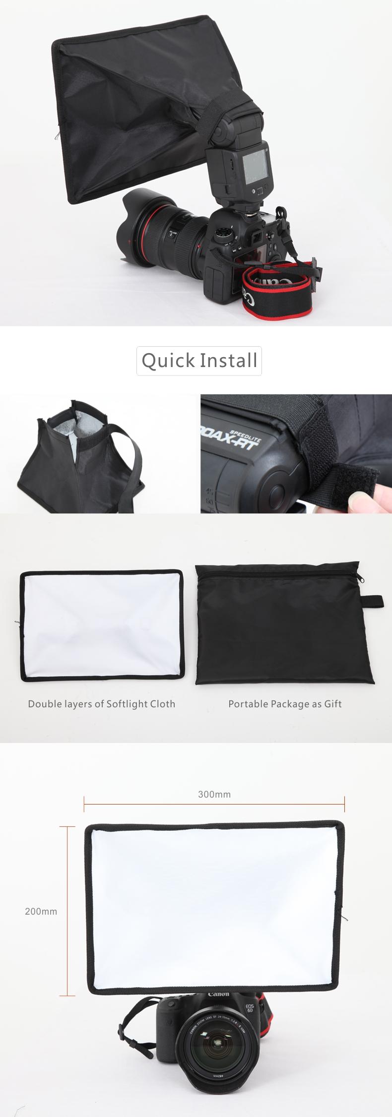 Falconeyes ESB2030 Portable Foldable Flash Diffuser Softbox for Canon Nikon Sony DSLR flash Speedlite Photo Studio Accessories 9