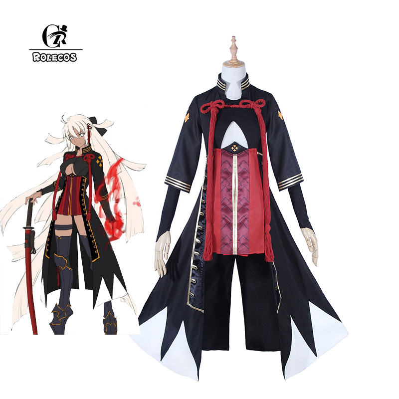 ROLECOS Fate Game Cosplay Costume Okita Souji Cosplay FGO Fate Grand Order Anime Costume for Women Outfit Halloween Party
