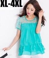2015 Fashion Women Lace Patchwork Short Sleeve Summer Style Loose Chiffon Shirt Ruffles Casual Blouse Flare
