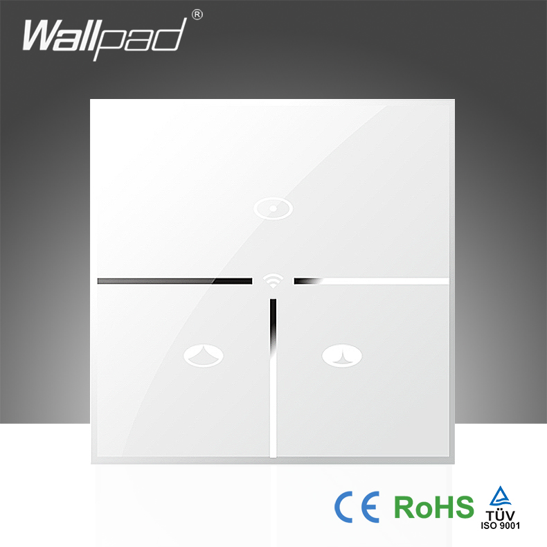 ФОТО Hot Sales Wallpad White Glass EU 110~250V 3 Gang Phone Wifi Wireless Remote Control Blind Window Curtain Switch,Free Shipping