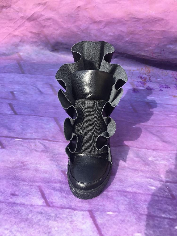 Vulcaniser Lisse Femmes Dames De Ruches Augmenté Mode Size41 Noir Date En Cuir On Talon Casual Chaussures 2018 Slip aEqw4FOxv