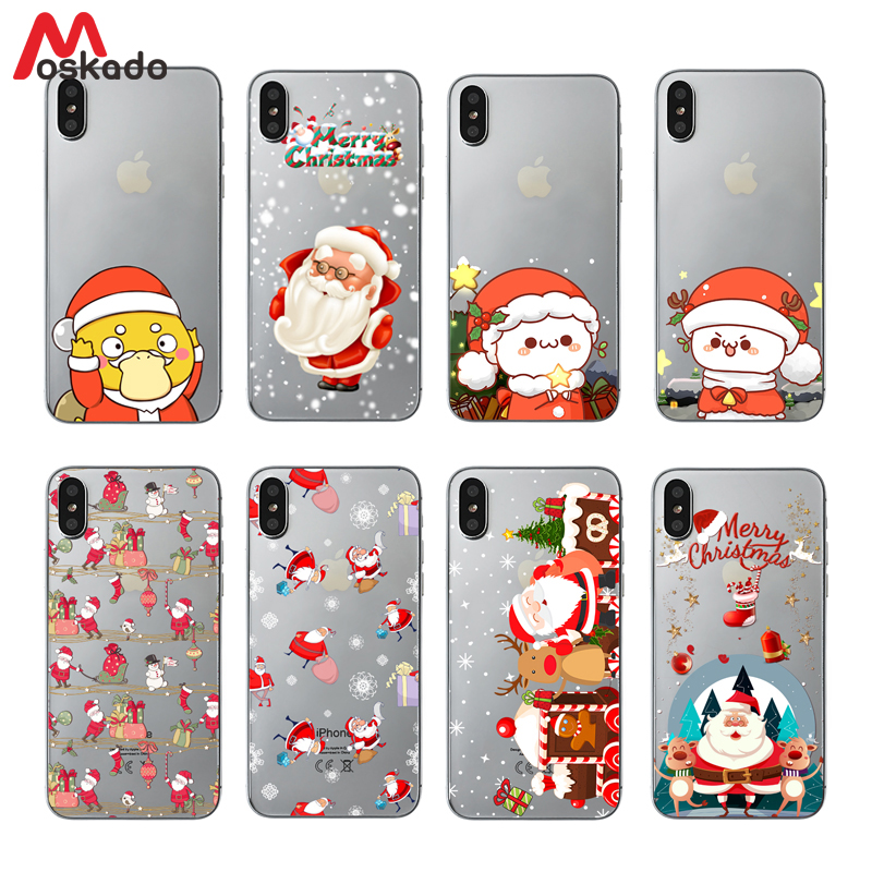 Moskado Christmas Phone Case For Iphone XR XS Max X Christmas Tree Snowman  Santa For Iphone 6 6S 7 8 Plus Soft TPU Cover