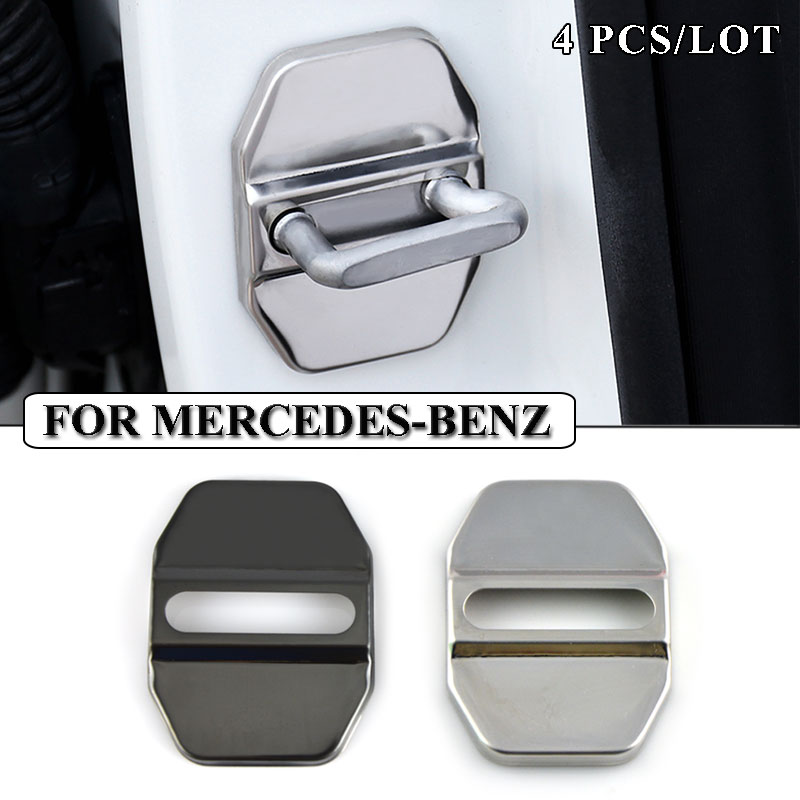 Ceyes Car Styling Stainless Steel Car Door Lock Cover Case For Mercedes Benz W211 AMG W204 W210 W203 Cla Accessories Car-Styling stainless steel car lock pick for bmw 5 7 series