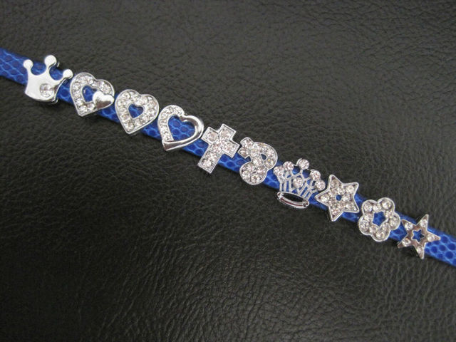 1200Pcs DHL Free Shipping 8mm DIY Zinc Alloy Slide Rhinestone Charms Symbol  Heart Crown Stars Cross PAW b320602f8f6d
