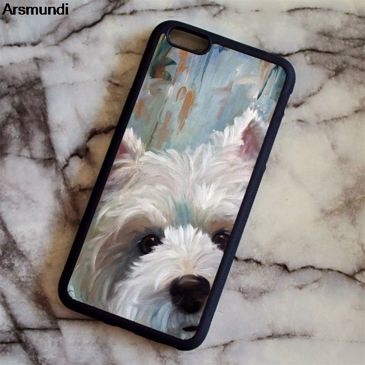 5ed842a748 Arsmundi West Highland White Terrier Phone Cases for iPhone 4S 5C 5S 6 6S 7  8 Plus X Case Soft TPU Rubber Silicone Lovely-in Fitted Cases from  Cellphones ...
