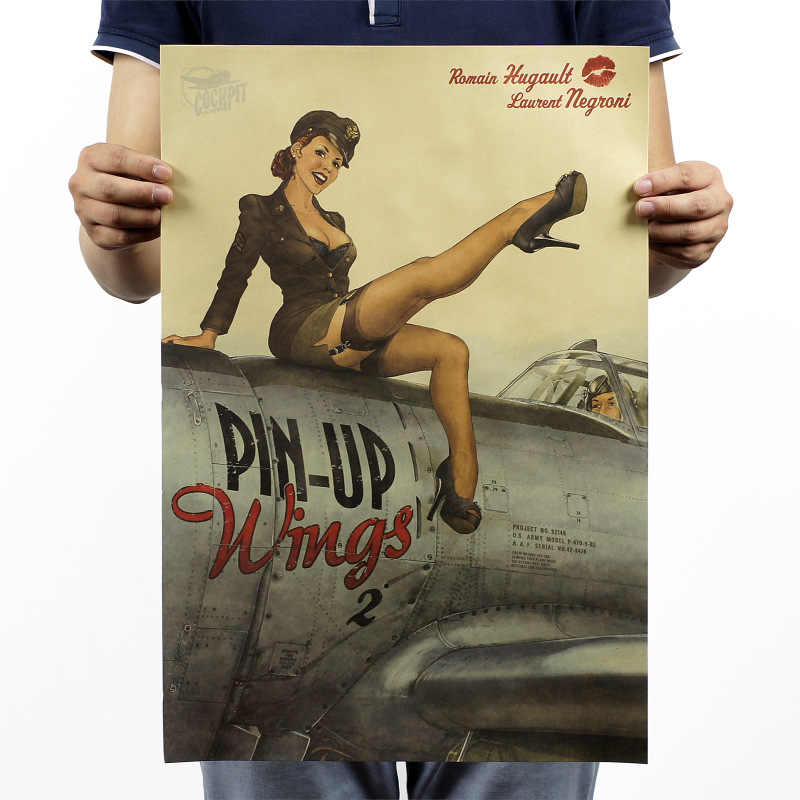 retro pin up Sexy Lady USA Movie Kraft Paper Poster Home decor vintage Wall Sticker Old Painting 42x30cm Free ship