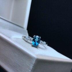 Женское кольцо с голубым топазом MeiBaPJ, 1 карат, инкрустированное натуральным синим топазом, инкрустированное серебром, 1 карат