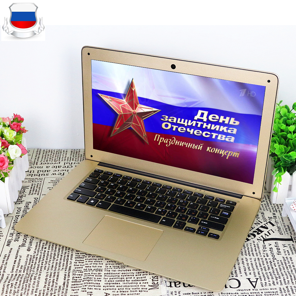 14inch Ultraslim 8GB RAM 64GB SSD Windows 7/10 System Intel Quad Core With Russian Keyboard For Option Laptop Notebook Computer crazyfire 14 inch laptop computer notebook with intel celeron j1900 quad core 8gb ram