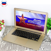 14inch Ultraslim 8GB RAM 64GB SSD Windows 7/10 System Intel Quad Core With Russian Keyboard For Option Laptop Notebook Computer