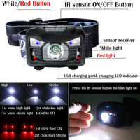 USB Rechargeable Headlamp XPE LED IR Sensor Outdoor Camping Headlight Lamp CLH 8