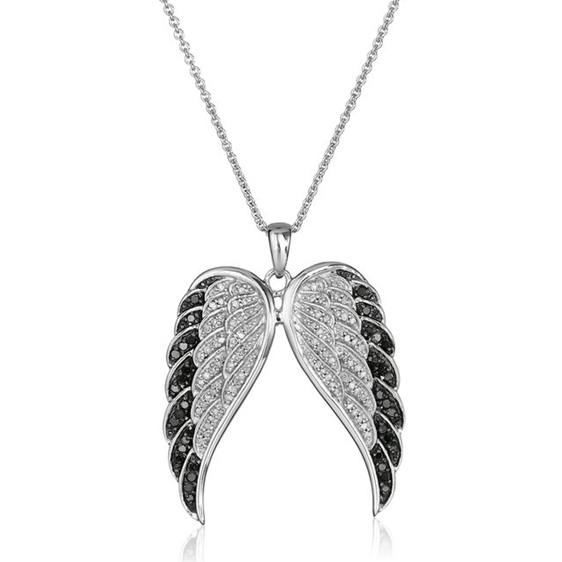 Creative Fashion Pendant Stainless Steel Chain Crystal Silver Angel Wings Necklace For Women Summer Jewelry Gift