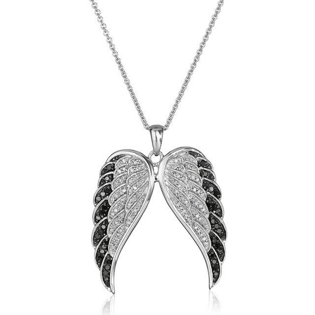 b9027c72524c Kreative Mode anhänger edelstahl kette Kristall Silber Engel Flügel  halskette Für Frauen Sommer Schmuck Geschenk