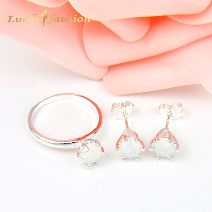 Classic Mother Holiday Gift Silver Plated Jewelry Round White Fire Opal Crystal Russia Brazil Wedding Jewelry Sets yoursfs heart necklace for mother s day with round austria crystal gift 18k white gold plated