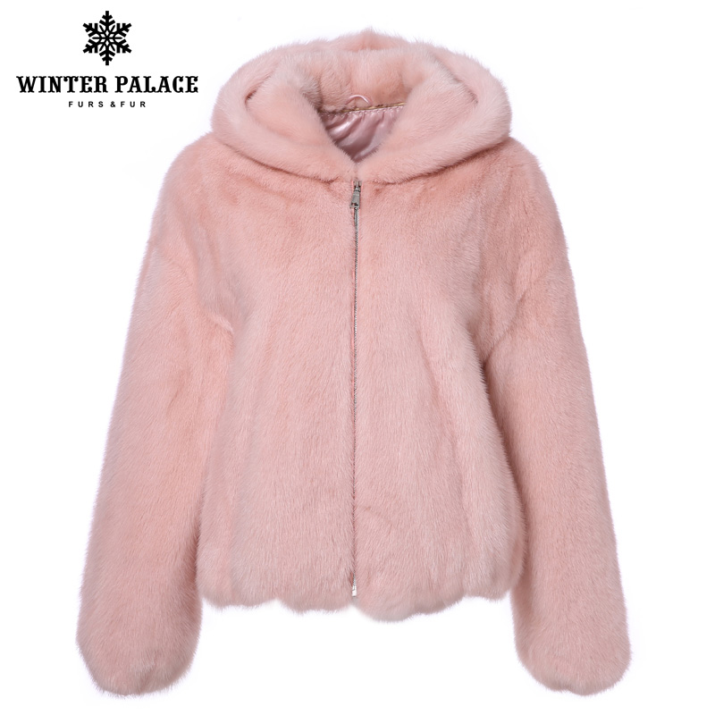 2018 Winter Real Mink Fur Coat Woman Fashion Mink Fur Coat High Grade Real Mink Fur Coat Casual Winter Coat Women Fur Wear A Hat