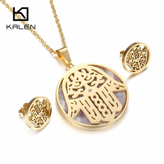 Kalen new shell fatima hand jewelry set stainless steel italian kalen new shell fatima hand jewelry set stainless steel italian gold color hamsa hand pendant necklace mozeypictures Gallery