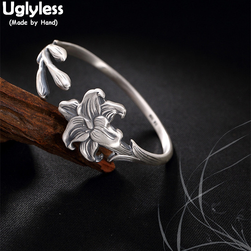 Uglyless prawdziwe S 999 grzywny srebra bransoletka w stylu Vintage wzory kobiety orchidea bransoletki elegancka sukienka na imprezę biżuteria romantyczny kwiatowy Bijoux w Bransoletki i obręcze od Biżuteria i akcesoria na  Grupa 1