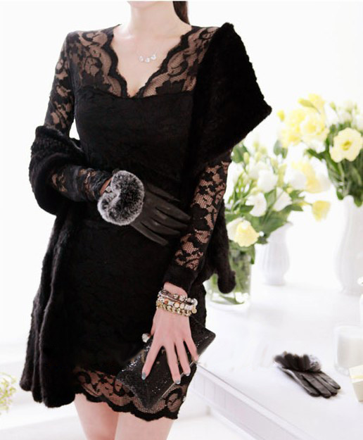 2015 Autumn bottoming lace dress thin package hip tight sexy long-sleeved - Beautiful women's clothing store