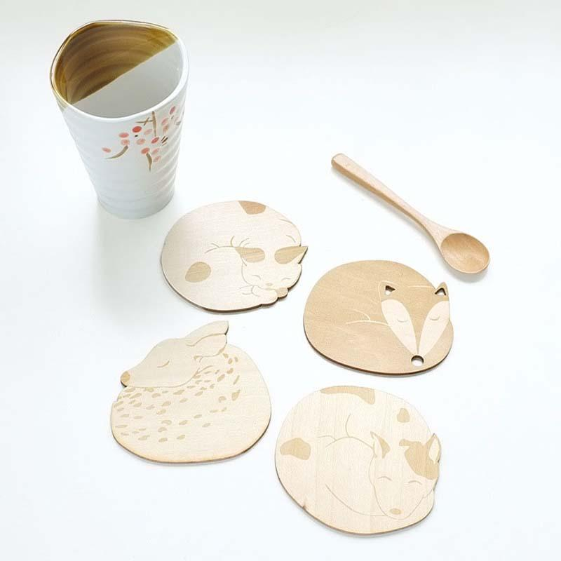 1Pc Lovely Animals Wooden Cup Mugs Coasters Mat Cup Bowls Pad Coffee Shop Tea Coffee Cup Mat Pad Holder Table Decor A45