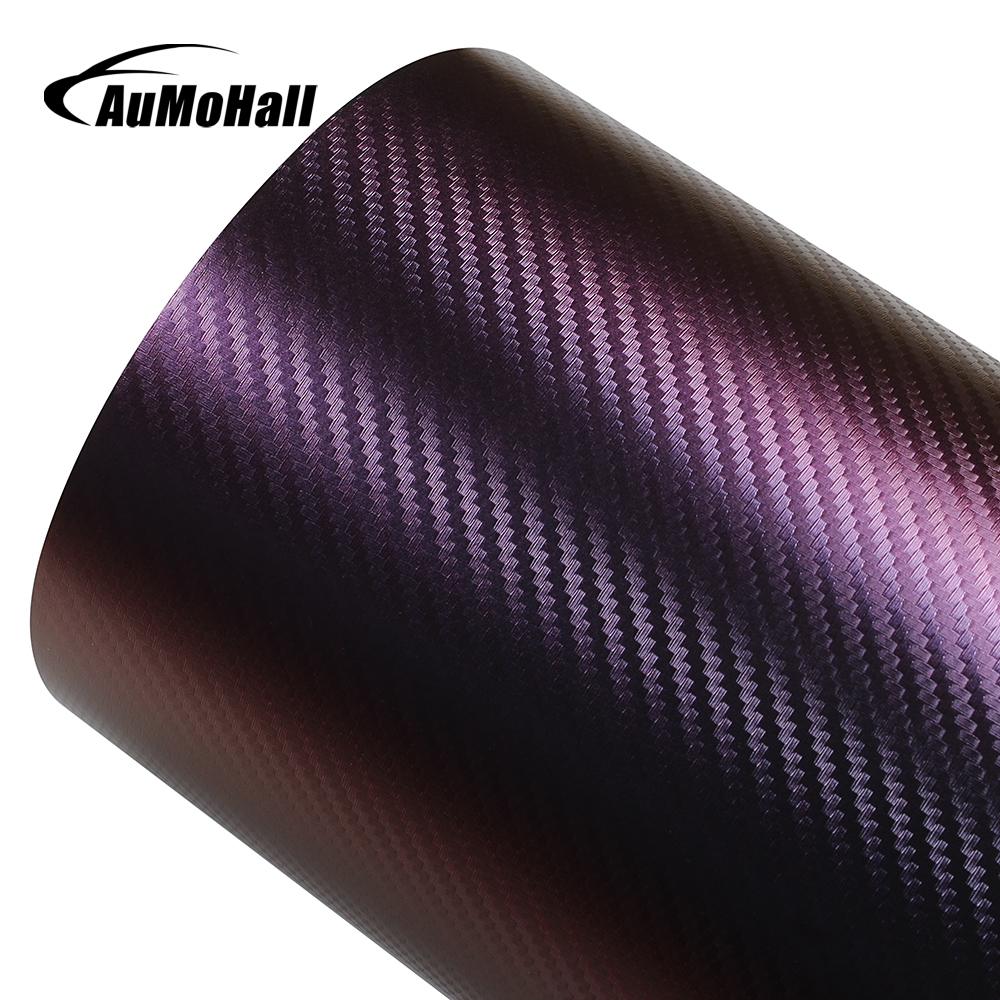 AuMoHall 30Mx152cm Chameleon Carbon Fiber Vinyl Film Wrap Car Styling Change Color Car Sticker for Whole Body