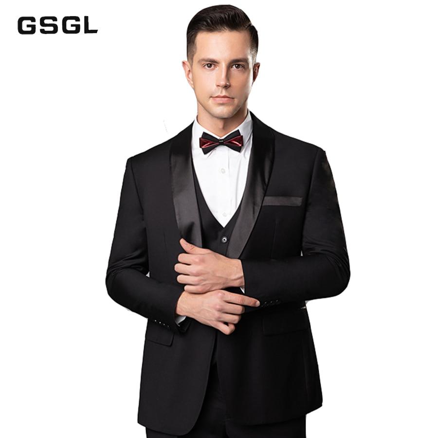 Men's Shawl Lapel 3-Pieces Suit Slim Fit Two Button Dress Suit Blazer Jacket Pants Tux Vest