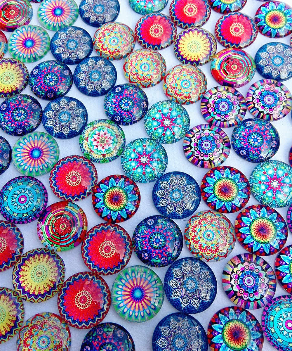 30pcs/lots India style mandala Glass cabochon 20mm  base connectors DIY baracelet nacklace Earrings key ring making