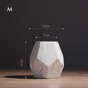 Image 4 - Vaso de cerâmica branco com marcação, decoração de casa ou escritório, em formato de geométrico, 1 peça 10/13/17cm