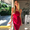 WYHHCJ 2017 Sexy Club Bandage Bodycon Dress Strapless Women Black Red Lace Up Backless Party Dresses