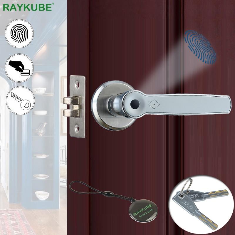 RAYKUBE Biometric Fingerprint Lock Smart 13 56Mhz IC Card Knob Deadbolt Keyless Electronic Door Lock For