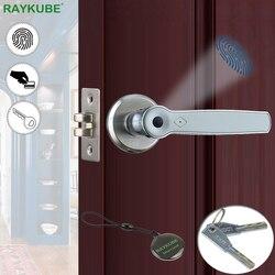 RAYKUBE biometryczna blokada z użyciem linii papilarnych Smart 13.56Mhz karta elektroniczna gałka Deadbolt Keyless elektroniczny zamek do drzwi dla Home Office R S158 w Zamki elektryczne od Bezpieczeństwo i ochrona na