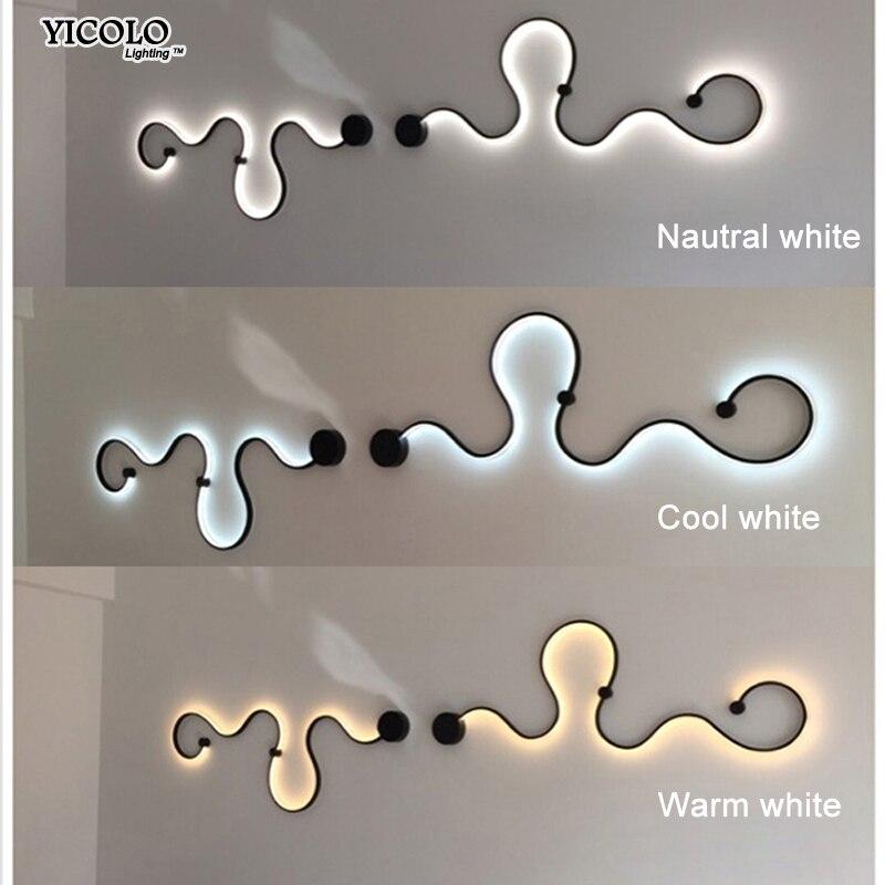 Простой Творческий настенные светильники с белый или черный цвет для спальня прикроватные украшения Nordic дизайнер гостиная коридор