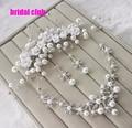 Newest Korea Style Handmade Wedding Jewelry Crystal Rhinestone Imitate Pearl Flower Necklace Earring Headpiece Set