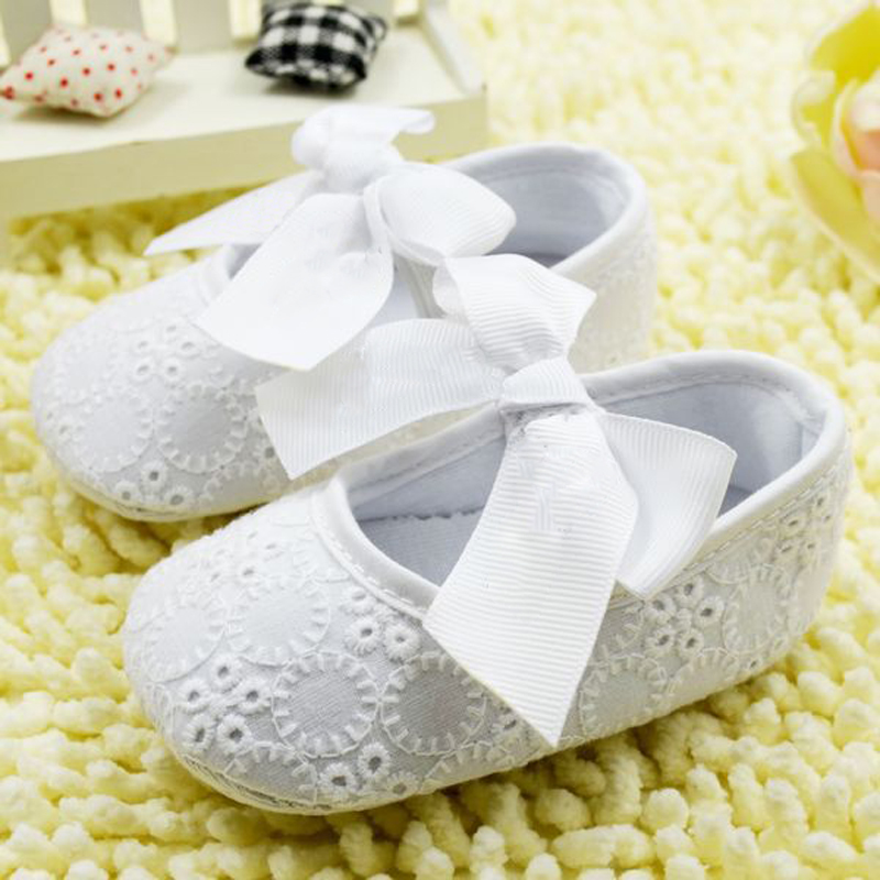 White Bowknot Baby Girl Lace Shoes Toddler Prewalker Anti-Slip Shoe Simple Baby Shoe