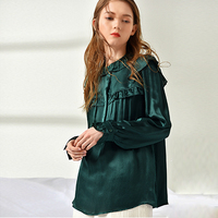 100% Silk Blouse Women Shirt Solid Vintage Design Ruffles Neck Long Flare Sleeves Elegant Style 2 Colors Top New Fashion 2018
